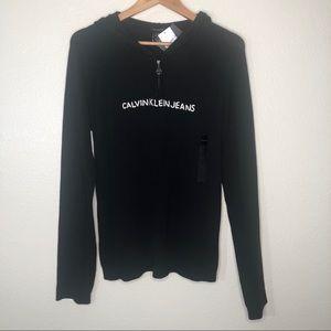 Calvin Klein 1/4 Zip Black 100% Cotton Pullover XL